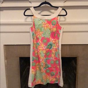 Lilly Pulitzer Neon Floral Dress with Boat Neck